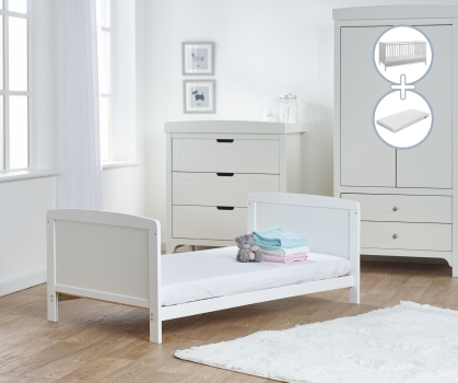 Sydney Cot Bed White with Kinder Flow Mattress