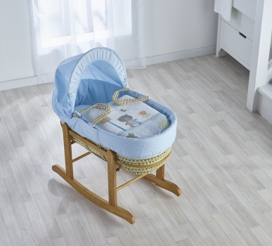 Tiny Ted Blue Palm Moses Basket