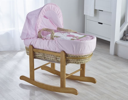 Tiny Ted Pink Palm Moses Basket
