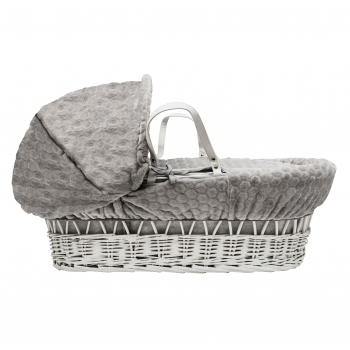 Grey Honeycomb White Wicker Moses Basket with Rocking Stand Deluxe White