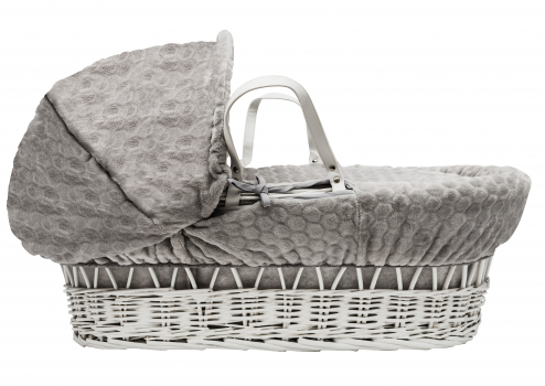 Grey Honeycomb White Wicker Moses Basket with Rocking Stand Deluxe Grey