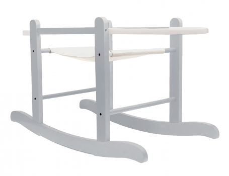White Dimple White Pod Moses Basket with Rocking Stand Deluxe Grey