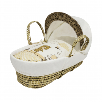 Tiny Ted Cream Palm Moses Basket with Natural Opal Folding Stand