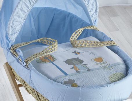 Tiny Ted Blue Palm Moses Basket with Natural Opal Folding Stand