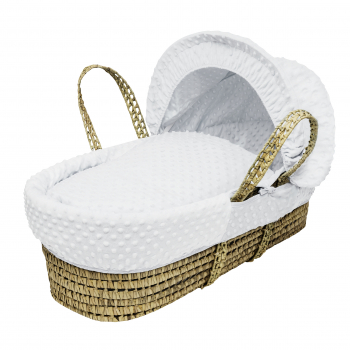 White Dimple Palm Moses Basket with Folding Stand Natural