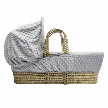 Grey Dimple Moses Basket with Folding Stand Natural