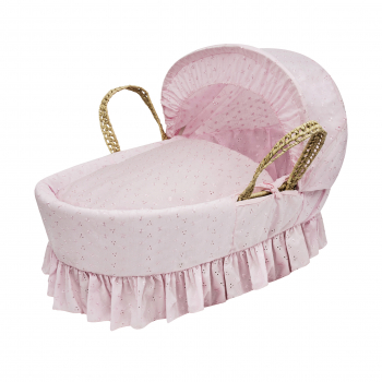 Broderie Anglaise Pink Moses Basket with Folding Stand Natural
