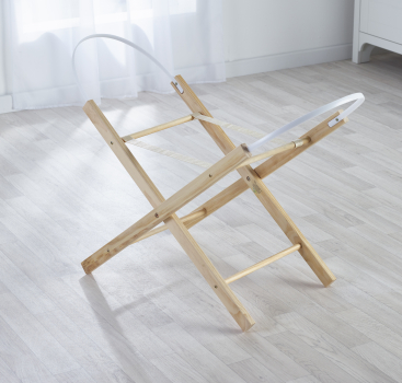 Broderie Anglaise Blue Moses Basket with Folding Stand Natural