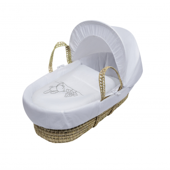 White Teddy Wash Day Palm Moses Basket with Chester Rocking Stand White