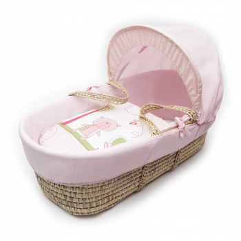 Tiny Ted Pink Palm Moses Basket with Chester Rocking Stand White