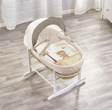 Tiny Ted Cream Palm Moses Basket with Chester Rocking Stand White