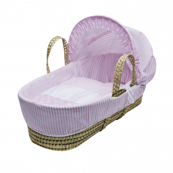 Pink Spots & Stripes Palm Moses Basket with Chester Rocking Stand White