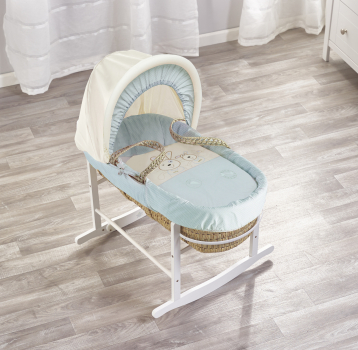 Blue Picnic in The Park Palm Moses Basket with Chester Rocking Stand White