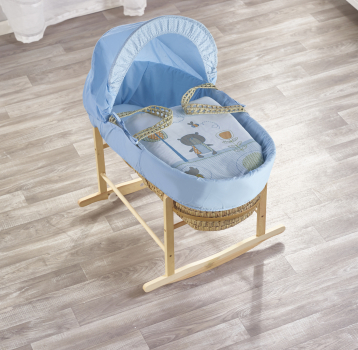 Tiny Ted Blue Palm Moses Basket with Chester Rocking Stand Natural