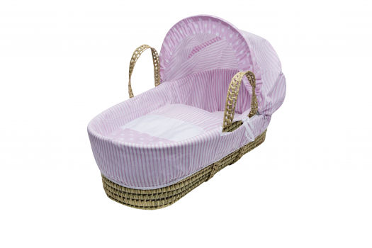 Pink Spots & Stripes Moses Basket with Chester Rocking Stand Natural