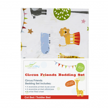7 Piece Toddler Bed Bundle White with Spring Mattress - Circus Friends