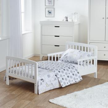 7 Piece Toddler Bed Bundle White with Spring Mattress - Safari Friends