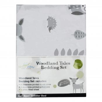 7 Piece Toddler Bed Bundle White with Pocket Sprung Mattress - Woodland Tales