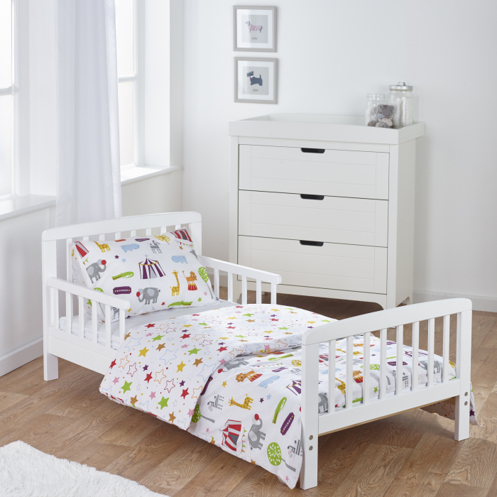 7 Piece Toddler Bed Bundle White with Pocket Sprung Mattress - Circus Friends Bedding