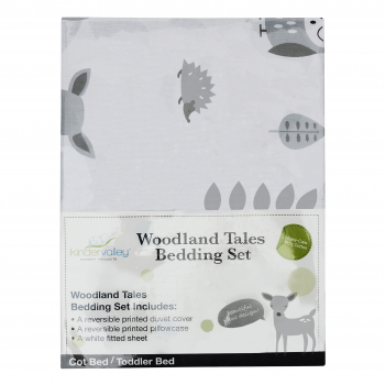7 Piece Toddler Bed Grey with Spring Mattress - Woodland Tales