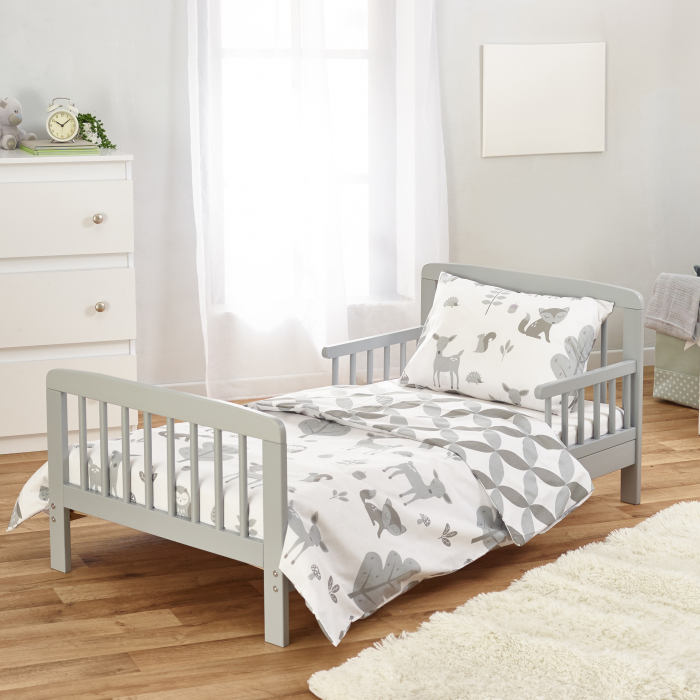 7 Piece Toddler Bed Grey with Spring Mattress - Woodland Tales Bedding