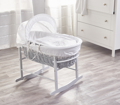 White Teddy Wash Day Grey Wicker Moses Basket