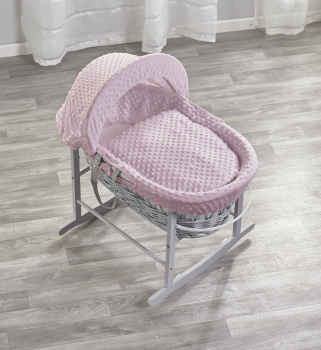 Pink Dimple Grey Wicker Moses Basket