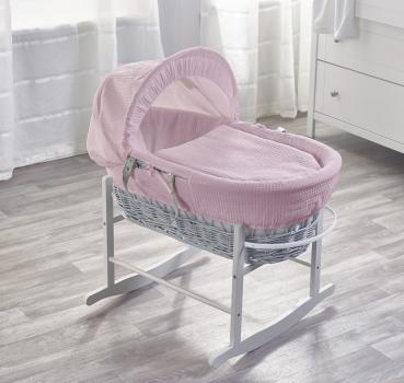 Pink Waffle Grey Wicker Moses Basket