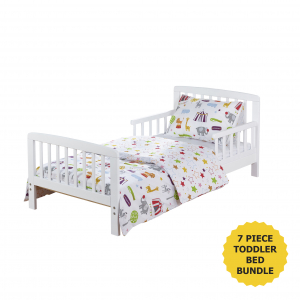 7 Piece Toddler Bed Bundle White - Circus Friends