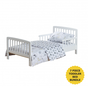 7 Piece Toddler Bed Bundle White - Safari Friends
