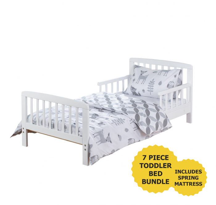 7 Piece Toddler Bed Bundle White with Spring Mattress - Woodland Tales Bedding