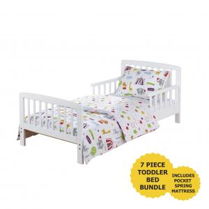 7 Piece Toddler Bed Bundle White with Pocket Sprung Mattress - Circus Friends