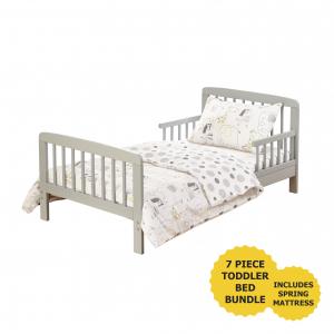 7 Piece Toddler Bed Grey with Spring Mattress - Safari Friends Bedding