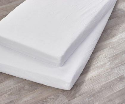 2 Pack Cot Sheets White