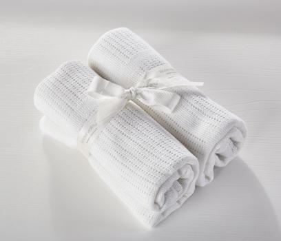 2 Pack Cellular Blanket White
