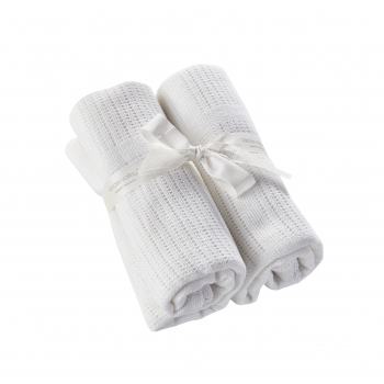 2 Pack Cellular Blanket White