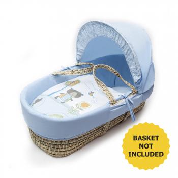 Tiny Ted Blue Moses Basket Bedding Set