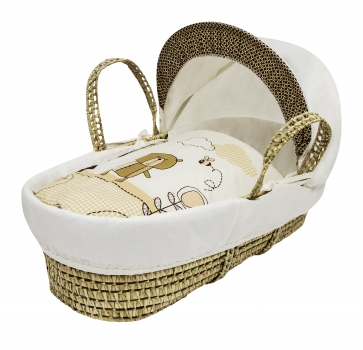 Tiny Ted Cream Moses Basket Bedding Set