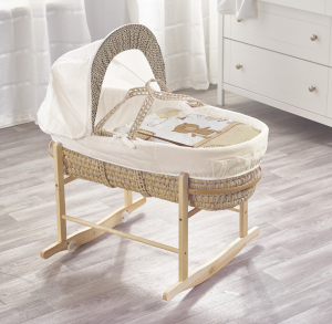 Tiny Ted Cream Palm Moses Basket with Chester Rocking Stand Natural