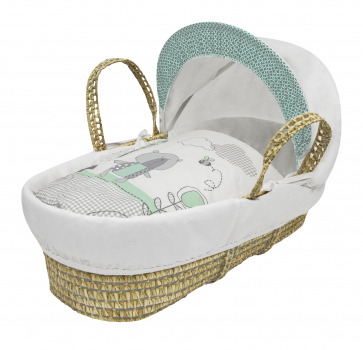 Tiny Ted Mint Moses Basket