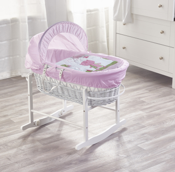 Tiny Ted Pink White Wicker Moses Basket