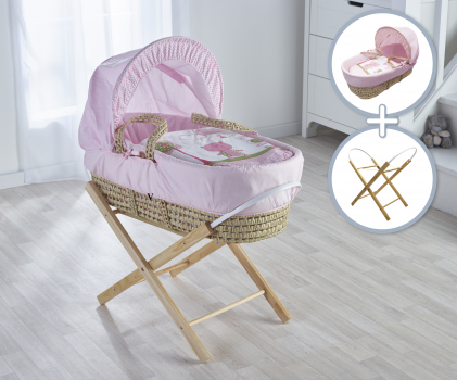 Tiny Ted Pink Moses Basket with Folding Stand Natural