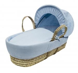 Waffle Blue Moses Basket Bedding Set