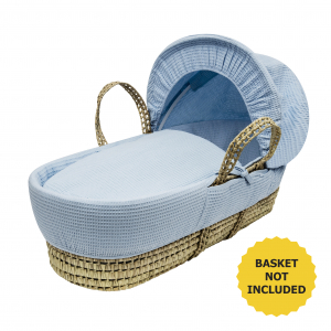 Blue Waffle Moses Basket Bedding Set