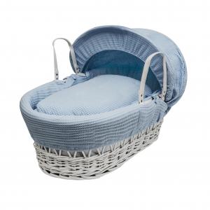 Blue Waffle White Wicker Moses Basket