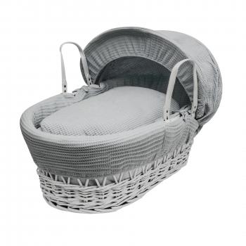 Grey Waffle White Wicker Moses Basket
