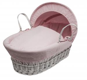Waffle Pink, White Wicker