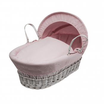 Pink Waffle White Wicker Moses Basket