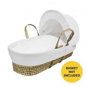 White Waffle Moses Basket Bedding Set