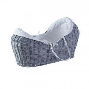 White Waffle Grey Pod Wicker Moses Basket